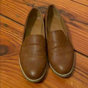 Tan leather loafers, 3/5 heel, cognac